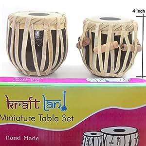 Back2Joy Kraftland Hand Made Miniature Tabla Set, Mini Tabla Decorative Showpieces (Mini Tabla Size 4 Inch)