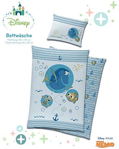 Preisvergleich Produktbild Disney Baby Bettwäsche Set in blau Findet Nemo Dorie 100% Baumwolle Bettbezug 100x135 Kopfkissen 40x60 ÖKOTEX Kinder Jungen Bettbezug dunkelblau hellblau Typ545