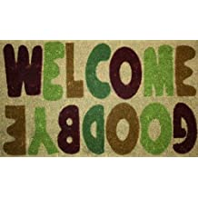 """STC Tufting-Fußmatte, Kokosfaser, rutschfeste Unterseite, 45x75cm, mit Schriftzug """"Welcome/ Goodbye"""""""