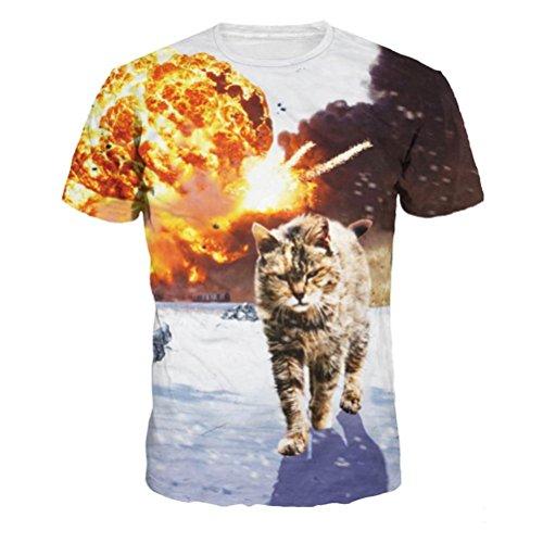 Liebhaber T-Shirt Herren 3D Katze Druckoberseiten Kurzarm Bluse Tees Shirt GreatestPAK,Schwarz,L