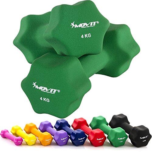 MOVIT 2er Set Neoprenhanteln, Kurzhanteln mit Oberfläche aus Neopren, 2 x 4,0kg in Dunkelgrün