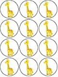 """12 x1.5""""/38mm Giraffe edible rice paper fairy / cup cake toppers pre cut decorations"""