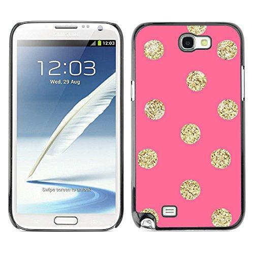 GooooStore/Dura Custodia Rigida della copertura della cassa - Gold Pattern Peach Polka Dot - Samsung Galaxy Note 2 N7100 - 2 ° Fast Peach