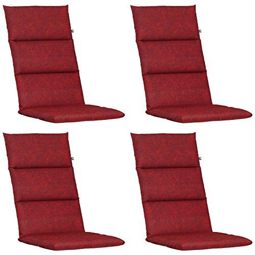 4 Hochlehner Auflagen Kettler Dessin 862 in rot 120 x 48 x 6 cm