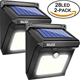 BAXiA Solarleuchten für Außen, 28 LED Solar Licht mit Bewegungssensor Kabelloses Wasserdichte Sicherheitslicht für Gärten,Türe,Flur,Wege,Terrassen, Patio, Zaun(2-Stück)