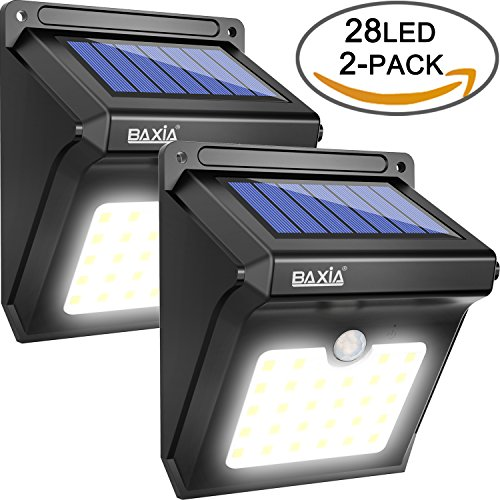 BAXiA Solar Lights,Upgraded 28 LED Solar Powered Security Lights,Waterproof Wireless Motion Sensor Outdoor Lighting for Outside Wall,Patio,Yard,Fence,Garden,Pathyway,Driveway (2 Packs)