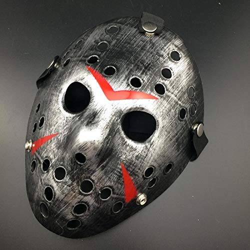 Womens Freddy Kostüm - ZHLL Halloween Party Cosplay Gruselmaske Jason Vs Freitag Der 13. Horror Hockey Maske Halloween,Vintagesilver