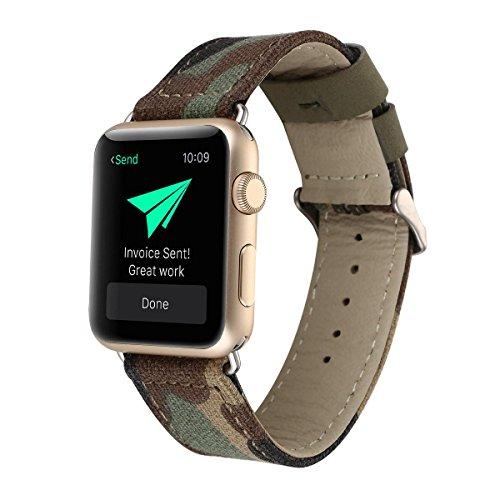AOLVO 38mm/42mm Watch Band für Apple Watch, Mode Echtes Leder Armbanduhr Band Nylon Denim Stoff Ersatz Armband Uhrenarmband für iWatch Serie 1,2,3, Sport Casual Edition für Männer Frauen, armee-grün, 42mm (Armee Denim)