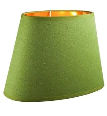 unbekannt hochwertiger leinen lampenschirm oval gr n innen gold 28 cm beleuchtung. Black Bedroom Furniture Sets. Home Design Ideas