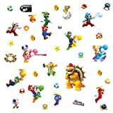 Thedecofactory 673SCS STICKERS NINTENDO SUPER MARIO BROS. WII ROOMMATES REPOSITIONNABLES (35 STICKERS), VINYLE, Multicolore, 104 x 26 x 2.5 cm