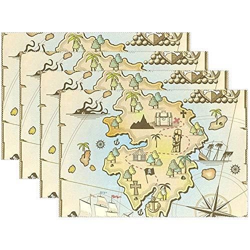 Salvamanteles náuticos antiguos con mapa del mundo, juego de 6, alfombrillas lavables resistentes al calor, manteles decorativos, 12 x 18 pulgadas