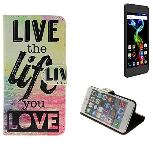 K-S-Trade Archos 45d Platinum Schutz Hülle 360° Wallet Case ''live Life Love'' Schutzhülle Handy Tasche Handyhülle Etui Smartphone Flip Cover Standfunktion (1x)