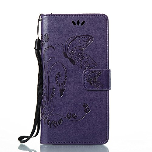 EKINHUI Case Cover Solid Color Faux Leder Bookstyle Brieftasche Stand Case mit geprägten Blumen & Lanyard & Card Slots für Huawei P10 Lite ( Color : Purple ) Purple