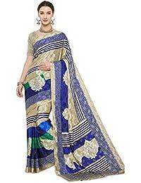 71c09ccb94 Women s Art Silk Traditional Saree Unstitched Blouse Design (Art Silk  1 Black and White)