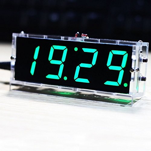Preisvergleich Produktbild KKMOON Kompakte 4-stellige DIY LED Digitaluhr Kit Light Control Temperaturanzeige Datum Zeit mit transparenten Etui (Grün)