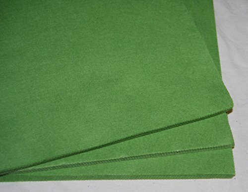 """Pack of 10 Sheets - SPRING GREEN - 100% Acrylic Craft Felt 9"""" Squares for Crafting, and Soft Toy Making"""