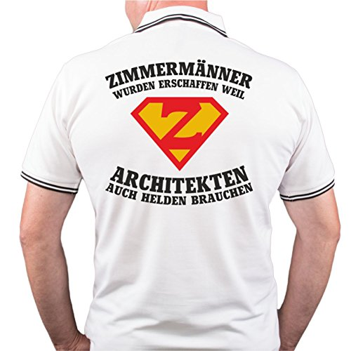 Männer und Herren POLO Shirt ZIMMERMÄNNER wurden erschaffen (mit Rückendruck) Weiß/Schwarz