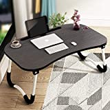 Foldable Wooden Laptop Table for Bed (Walnut Black)