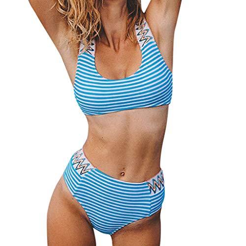 SuperSU-Bademode ►▷Sommer Damen Mode Push up Bikinis Striped Print Spleiß Bikini High Waisted Badebekleidung Frauen Lässiges Urlaub Strand Beachwear Zweiteiler Split Badeanzug