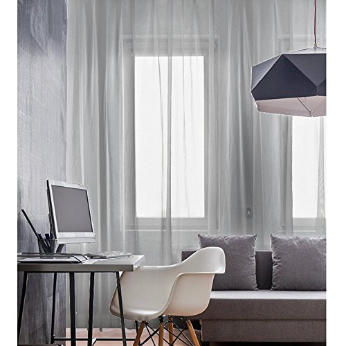 JEMIDI Schal mit Kräuselband - Universalband - in Leinenoptik Leinen Look Gardine Vorhang Store Grau