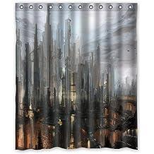 """'doubee haltbarer Ciudad Vista Cityscape–Cortina de ducha (poliéster impermeable Shower Curtain 60""""x 72,152cm X 183CM, poliéster, E, 60"""" x 72"""""""