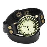 TOOGOO(R) Vintage Retro Dame Frauen um Quarz weben Wickelband Armbanduhr wickeln - schwarz