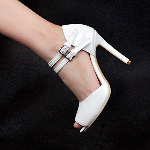 Kolnoo Damen Faschion 10.5cm öffnen Sie Zehe Wölbungs Bügel Absatz Partei Sandelholz Schuhe White