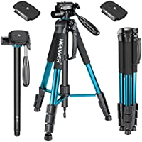 Neewer 177cm Aluminium Kamera Stativ Einbeinstativ mit 3-Wege Kugelkopf, 2 stück Schnellwechselplatte, Tasche für DSLR Kamera, DV Video Camcorder, Belastbarkeit bis zu 4kg Blau (SAB264)