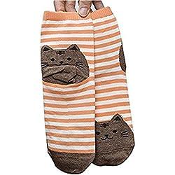 Invierno Calcetines,DSUK La Huella de Invierno Womens Cute Gato Rayas Calcetines Cálido Acogedor Elegante Animales Gatitos Cartoon Tripulación Calcetines de Tobillo Pantorrilla Naranja