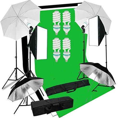 Mvpower softbox con sfondo di 3 colori nero / bianco / verde 2m×1.6m con kit softbox ombrello bianco/ nero treppiede,set illuminazione per studio fotografico greenscreen