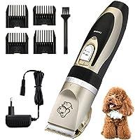 OMORC Pet Hair Trimmer, Máquina de Cortar Pelo, Bajo Ruido y Vibración, Alta Capacidad Batería de Litio Recargable, Negro y Dorado