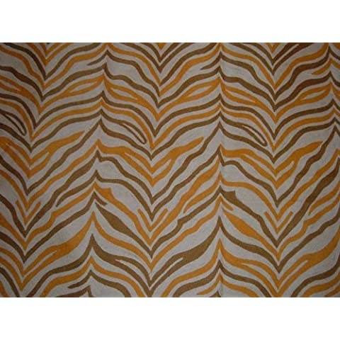 Crewel Rug Zebra Brown Chain Stitched Wool