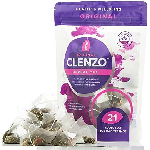 Té desintoxicante Clenzo, dieta de 7 a 21 días para limpiar todo el cuerpo, el colon y el hígado - 11 ingredientes herbales naturales incluyendo garcinia cambogia - 21 bolsas biodegradables en pirámide con hojas sueltas - sin efecto laxante
