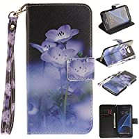Samsung Galaxy S7 case, JGNTJLS [with Free Tempered Glass Screen Protector] Premium PU Leather Wallet Embedded Flip Magnetic Detachable Close Lock with [Colorful-Pattern Lanyard Strap] and [Credit Card Holder Slots] Smart Standing Folio Book Style Type St