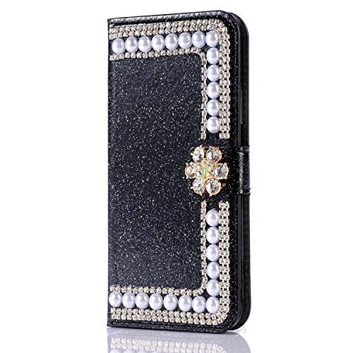 Custodia per iPhone X 5.8 Cover in Pelle Portafoglio, Funyye Lusso Bello Eleganza Diamante [Cristallo Bowknot] Design Flip Wallet Case Bello Scintillante PU Leather Shell Skin Bumper +1 x Free Screen #4 Nero