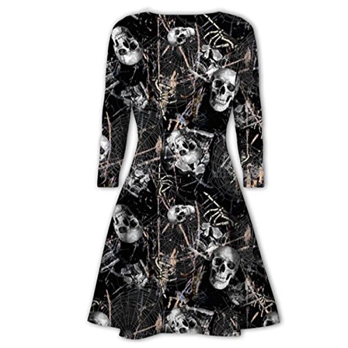 Hollowing Pumpkin Skull Scary Lips Print Batwing Swing Skater Dress Long Sleeve Top ()