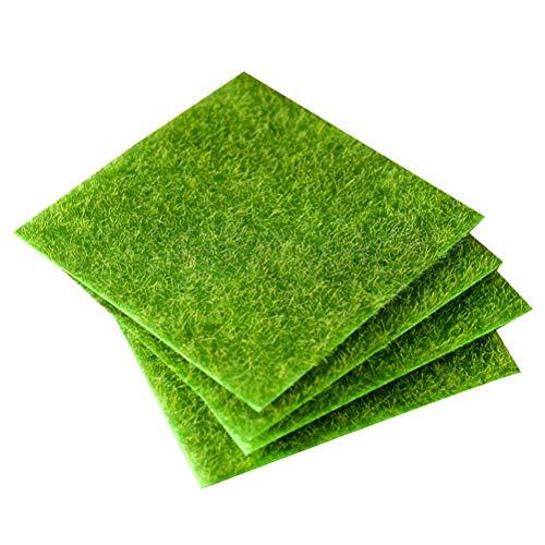 Yardwe 8 Stücke Kunstrasen Patch Kunstrasenfliesen Miniatur Rasen Ornament für Garten Micro Landschaft 15x15 cm (grün)