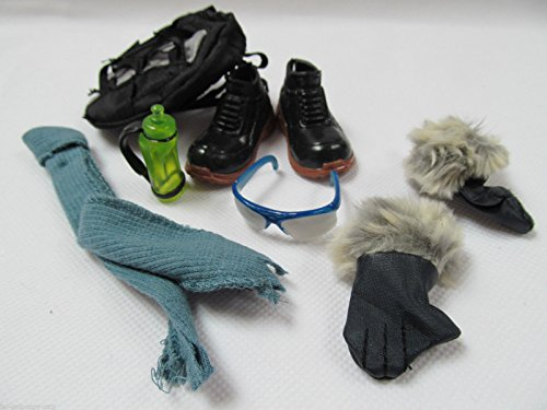 Image of Ken Action Man Doll sized ski pack outfit set: goggles, bag, boots, etc, posted from London By Fat-catz