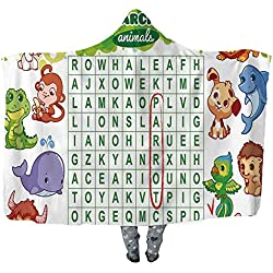 UKSILYHEART Hooded Blanket 130x150cm Wearable Blanket Word Search Puzzle Wearable Blanket Adult Women Men Kids Wearable Blanket Educational Game for Kids Decorated with Cute Animals Worksheet Print