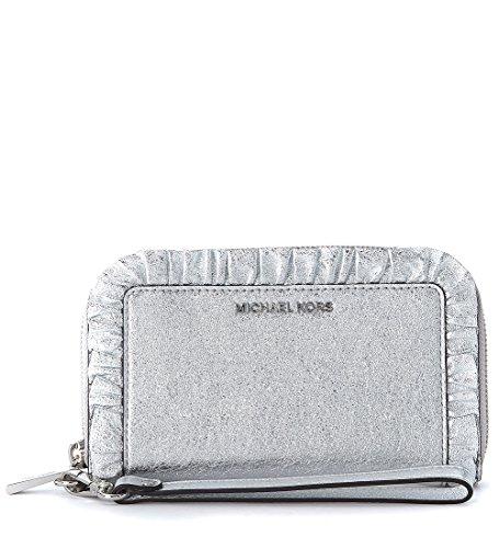 Portafoglio Michael Kors Jet Set in pelle argento con rouches (Michael Kors Tasche Silber)