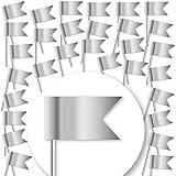 30 Stück Markierungsfahnen DELUXE - MATT-SILBER- Markierungsfähnchen für Pinnwand &