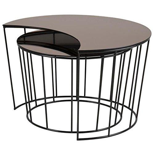 SUNMOON Lot de 2 tables basses gigognes vintage en métal laqué noir + plateau en verre bronze - L 76 x l 59 et L 58 x l 58 cm