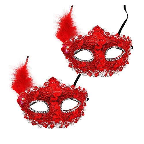 Für Kostüm Cupcake Frauen Mädchen Erwachsene - Dayyly 2 Mini-Kostümmasken mit Prinzessinnen-Feder-Maske, Mehrfarbig, kleine Karnevalsmaske mit Spitze, Gesichts-Dekoration, Cosplay, Kostüm-Zubehör für Frauen und Mädchen rot