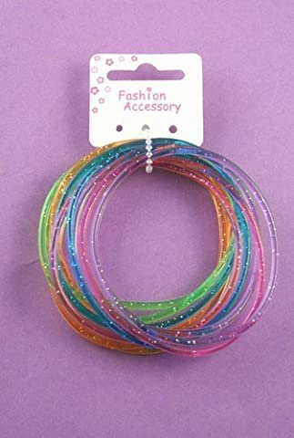 Card of 12 glitter coloured gummy bangles by party bag fillers