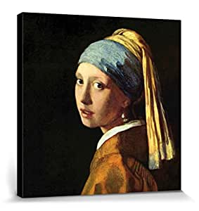 Johannes Vermeer Poster Reproduction Sur Toile, Tendue Sur Châssis - La Jeune Fille À La Perle, 1665 (40 x 40 cm)