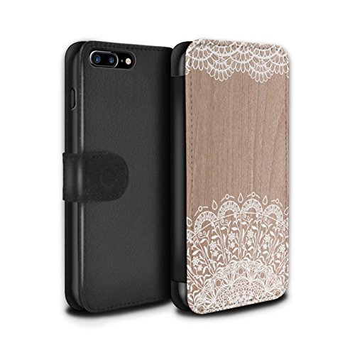 STUFF4 PU-Leder Hülle/Case/Tasche/Cover für Apple iPhone 7 Plus / Fein Rand Muster / Fein Spitzenborte Holz Kollektion Schönheit