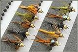 Forellen Fliegenfischen Fliegen 10Summer Nymphs 33j-12–1C bis 5C Größe 12