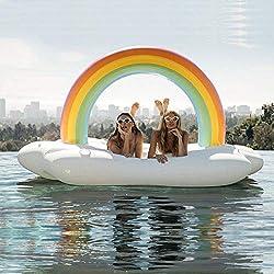 Isla Flotante De La Isla Del Arco Iris Juguetes Inflables, Montaje Inflable Del Anillo De La Natación Del Agua Adulta Asiento Flotante Inflable, Regalo-210 * 140 * 135cm