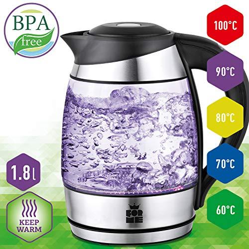 ForMe Glas Wasserkocher 1.8 L Temperaturwahl 60-100°C Farbwechsel LED Temperatur einstellbar Glaskessel I Glaswasserkocher Edelstahl Boden I Teekessel mit Warmhaltefunktion I BPA Frei