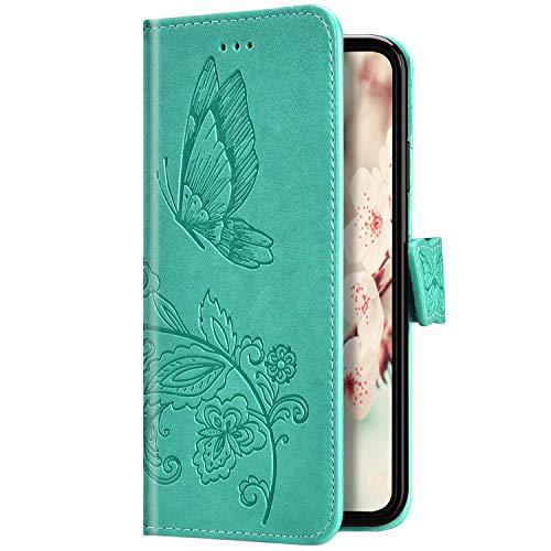 Uposao Kompatibel mit Huawei Y7 2019 Hülle Leder Schutzhülle Schmetterling Blumen Motiv Muster Brieftasche Handyhülle Wallet Flip Case Klapphülle Tasche Magnet Kartenfächer,Grün